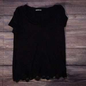 Tart black T-shirt with the lace detail the bottom